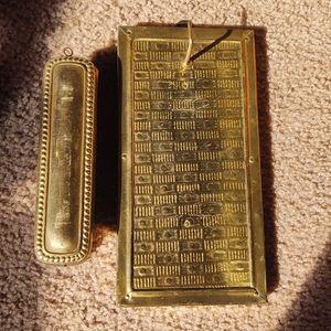 Vintage brass boot shine brush wall hanging